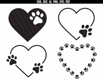 Download Paw Print and Heart SVG Cut File Digital Designs Clipart