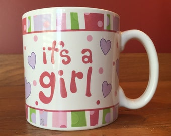 """It""""s A Girl Mug Soy Candle! Burton & Burton Ceramic Mug with Hand Poured Soy Candle, Baby Powder Scent or Your Choice in Matching Gift Box"""