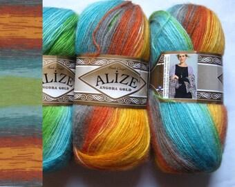 2 large Gold 4835Alize Angora mohair wool yarn