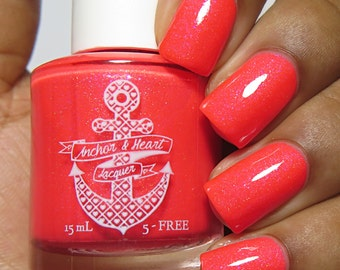 Vacation Land ~ Home Collection ~ Bright Coral Nail Polish w/ Subtle Linear Holo