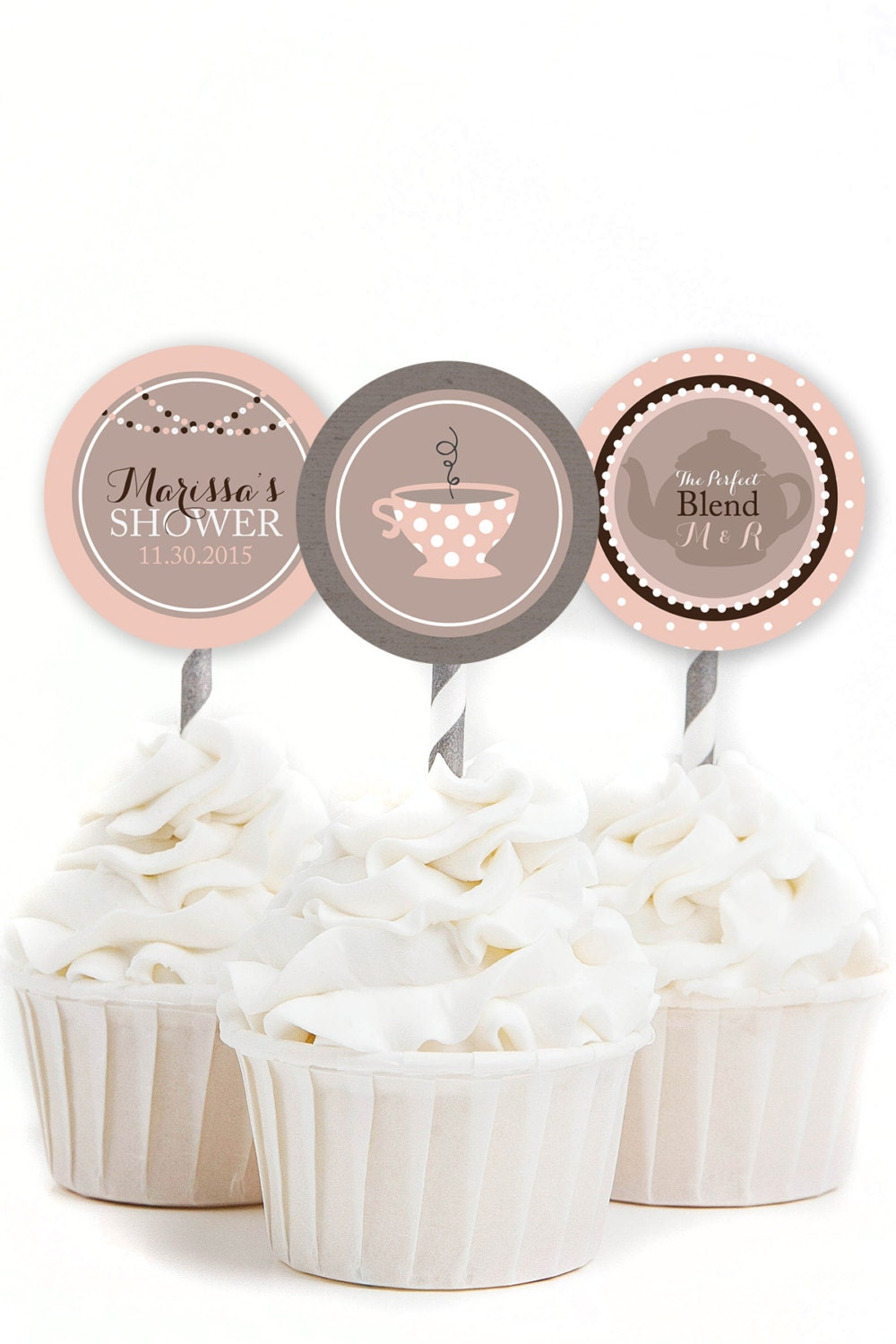 Custom Cupcake Toppers Coffee Bridal Shower Coffee Party