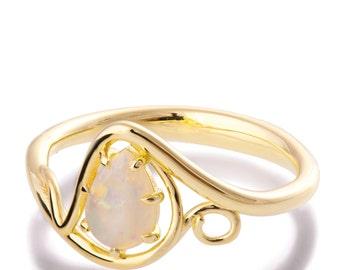 Opal Verlobungsring, Opalring, 18K Gold Opalring, Opalschmuck, einzigartige Verlobungsring, Opal-Diamant-Ring, Blätter Opal Ring, Opal-Rebe