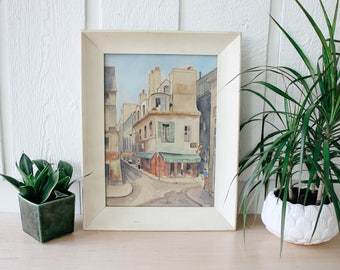 Vintage framed watercolor of Au Vieox Paris Rue a Montigue pastel watercolor art vintage decor