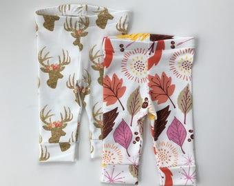 Leggings, Fall, Floral, Glitter, Deer, Leaves, Autumn, Pink, Orange