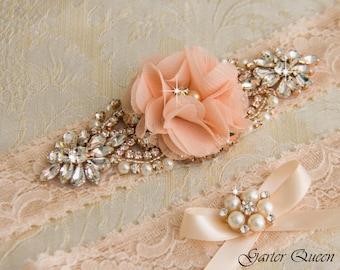 Rose Gold Wedding Garter, Bridal Garter Set, Blush Lace Wedding Garter, Crystal Garter Set, Ivory Lace Garter Set