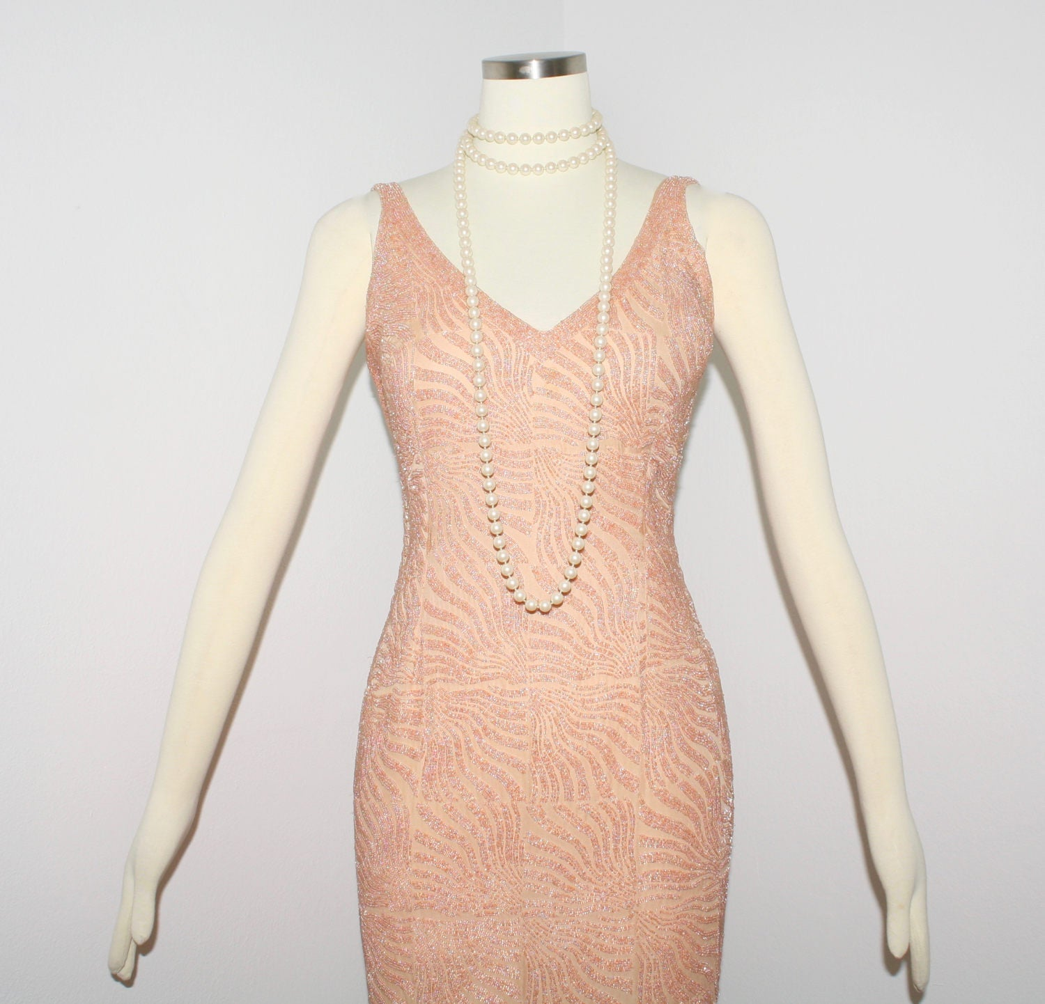 TODD OLDHAM Vintage Beaded Halter Pink Dress Mini