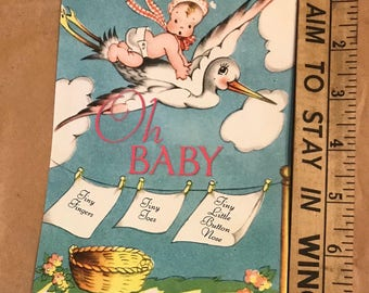 Reproduction 1930's Baby Shower Invitations with Envelopes set of 12, more available