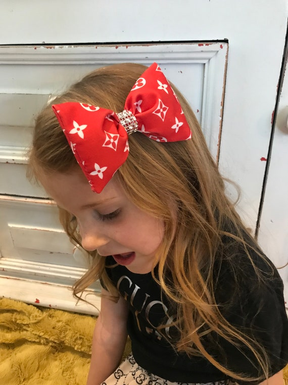 LV x Supreme inspired hairbow