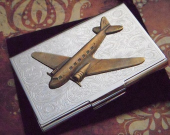 Brass airplane case business card holder steampunk card holder business card holder brass airplane case steampunk wallet pan am dc9 vintage style silver case airplane card case pilot gift colourmoves