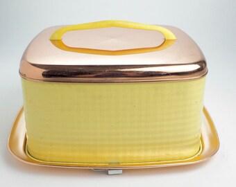 Vintage Yellow Metal Cake Carrier, Square Copper Base,  Locking Square Mid Century Cake Saver