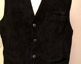 Sleeveless vest waiter Black Suede