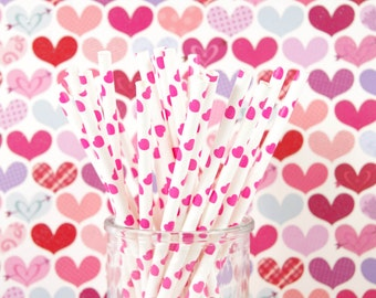 Pink Heart Paper Straws for Valentine's Day Paper Straws - Set of 25 Straws - Birthday Party - First Birthday