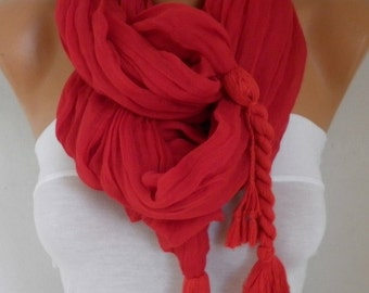 Red Cotton Tassel Scarf,Spring Summer Shawl,Cowl Oversized Wrap Gift Ideas For Her Women Fashion Accessories Mother Day Gift