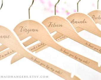 Bridesmaid Hanger, Wedding Dress Hanger, Engraved Personalized Bridal Hanger, Bridal Party Hanger, Bridal Shower Gift, Bridesmaid Gift H11