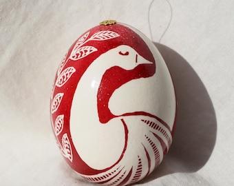 Ukrainian Easter Egg Swan silohette on white chicken egg Pysanky batik method, dyed dark red. Egg you see is egg I ship from Michigan USA