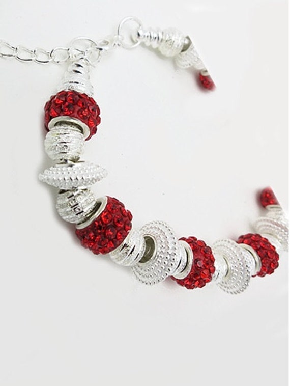Holiday BRACELET, Silver Plated Beads & Crystals  **FREE SHIPPING**