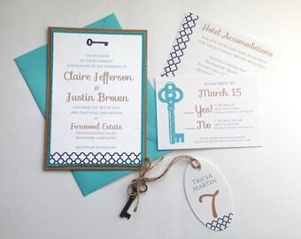 Skeleton Key Wedding Invitations