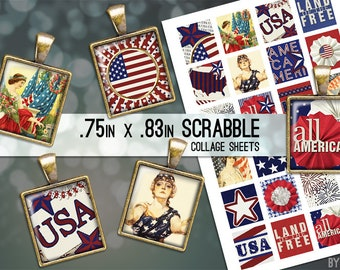 USA Patriotic 4th of July Digital Collage Sheet Scrabble Tile .75x.83 Images 4x6 8.5x11 Download Sheets for Glass Resin Pendants E0064