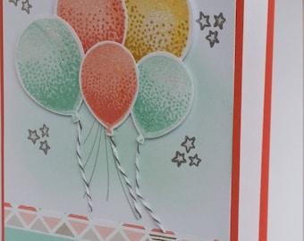 Congratulations Balloons handmade greeting card