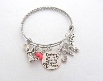 Gifts for Graduates, Graduation Jewelry, Graduation Gift-2018 Senior Gifts-Believe in the Beauty of your Dreams inspirational jewelry Bangle