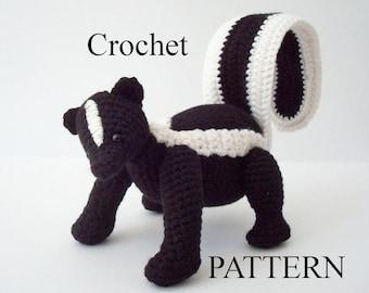 Striped Skunk Crochet Pattern Amigurumi Skunk Woodland Animal Digital Download Crochet Pattern Adobe Pdf File