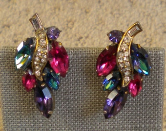 Vintage 50s Weiss signed Multi Color Marquise Rhinestone Leaf Clip On Earrings Fruit Salad Earrings FREE Shipping