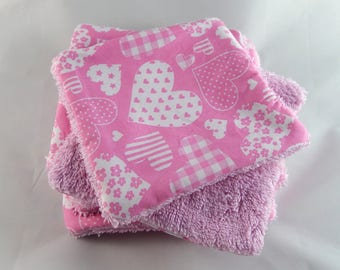 Set of 6 wipes washable hearts pattern
