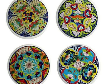 Set of 4 Talavera Style 1195 Ceramic Knobs for Drawers or Cabinets