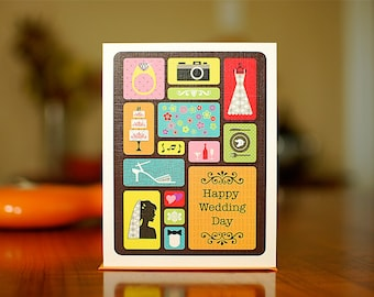 Bento Box Colorful Wedding Card on 100% Recycled Paper