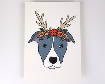 Dog in Flower Crown Gouache Painting - Staffordshire Bull Terrier