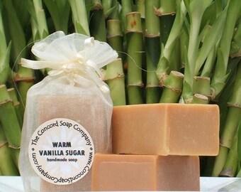 Warm Vanilla Sugar Handmade Cold Process Soap Bar, 4oz - phthalate free, sweet,ivory, vegan,natural,organic sustainable palm oil,organza bag
