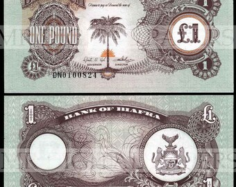 Biafra Pound Note / Biafra Money / Digital Paper / Biafra Currency / Antique Money / Antique Ephemera / Digital Download / Paper Ephemera