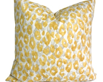 Outdoor cushion cover, 18x18, Yellow outdoor pillow, Patio cushion, Cheetah print pillow, Outdoor throw pillow, Sale pillow, Clearance