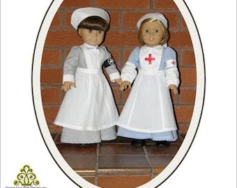 Pixie Faire Genniewren Designs Edith WW1 VAD Nurse Uniform Doll Clothes Pattern for 18 inch American Girl Dolls - PDF
