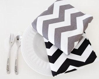 Contemporary Chevron Oxford Cotton Fabric Geometric - Gray or Black - By the Yard 65862