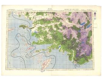 Rhodes WWII-era Map - British War Office, Old MI4 Map of Greek Islands   Vintage chart, plan of Rhodes island in Greece.