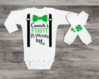 My 1st St.Patrick's Day Baby Boy 1st St. Patrick's Day Outfit Personalized St. Patrick's Outfit Baby Boy Clothes Baby Boy Suspender Outfit