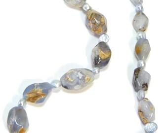 Blue Necklace, Blue Chalcedony Necklace, Gemstone Necklace, Blue Stone Necklace, Nugget Necklace