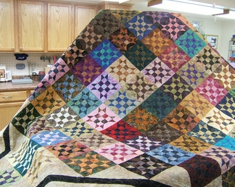 Bed Quilt, King Size Bed Quilt. Multi Colored Bed Quilt, Patchwork Quilt, Handmade Quilt, King Size Quilt, Bedspread,