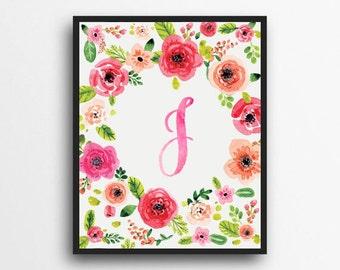 Monogram Letter J Print | Floral Wreath Monogram | Initial Print | Watercolor Floral Print | Digital Download