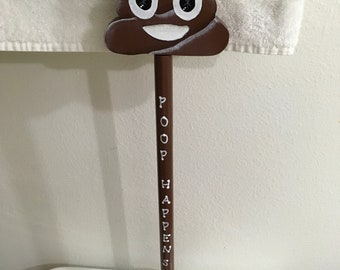 Plunger Upcycled Poop Happens Bathroom Decor Handmade Hand Painted Gift Idea