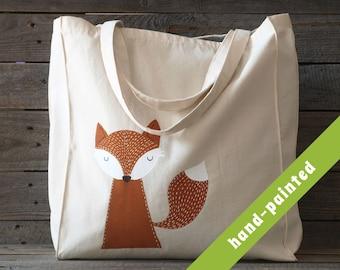 fox gift - tote bag / animal lover gift eco bag/ hand-painted tote bag/ animal bag/ fox bag/ fox tote bag/ fox purse/ fox gifts