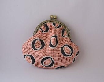 Retro purse orange with Brown circles