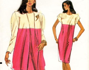 Sz 14/16/18 - Vogue Dress Pattern 7562 - Misses' Loose-Fitting, Color Blocked Swing Jacket and Straight Dress - Very Easy Vogue Pattern