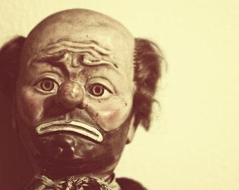 Halloween Decor, Fine Art Photography, sad clown photograph Weary Willie
