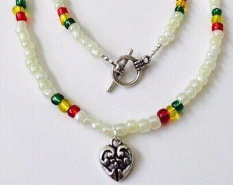 Rasta Heart Necklace.