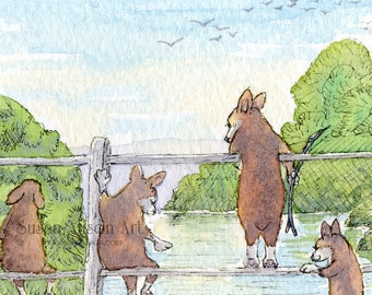 Welsh Corgi dog 5x7 8x10 11x14 art print Pooh sticks by Susan Alison watercolor painting Pembroke bob tailed poohsticks game bridge upstream