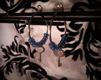 Blue Heart Key Earrings