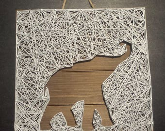 Customizable Made to order Negative Elephant String Art