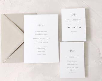 Mountains Wedding Invitation Sample - Harper | Mountain Wedding Invitation | Letterpress Wedding Invitation | Tree Wedding Invitations